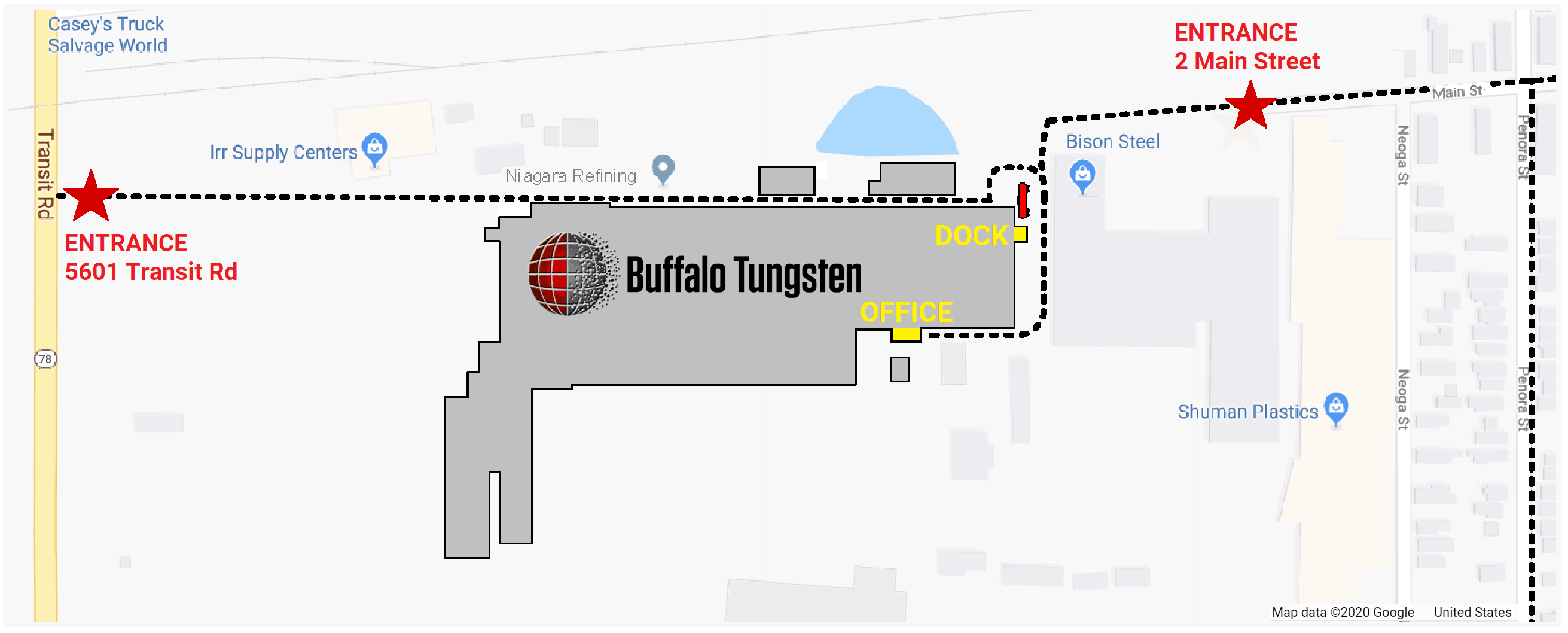 Buffalo Tungsten Directions on Site Map without Border